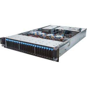 R280-F2O Grantley Server - Angle View with Riser Cards